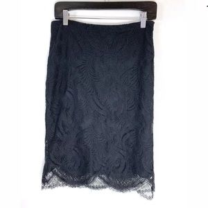 Club Monaco Lace Pencil Straight Black Skirt